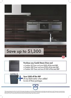 SAVE Up to $1,300 on your V-ZUG Kitchen Appliance Package*  Purchase any V-ZUG Combi Steamer Model and SAVE Up to $1,000 OFF* their 60 cm Oven Range  Purchase any Combi Steamer and also a Oven from the V-ZUG Kitchen Appliance Range and SAVE $300 OFF* any V-ZUG Dishwasher