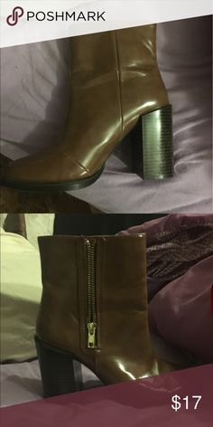 Tan Forever 21 booties Perfect condition! Fit 6, 6 1/2, and 7! It's a 6 1/2 but I'm a 7 and it fit perfectly :) Forever 21 Shoes Ankle Boots & Booties
