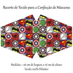 Recorte de Tecido para a Confecção de Máscaras no Elo7 | Skully Arte (12C1260) Otaku, Sewing Projects, Nerd, Cricut, Marvel, Face, Princesas Disney, Crafts, Patterns