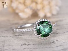 7mm Round Cut Treated Green Emerald Solid 14k White Gold Engagement Ring Bridal Diamond 4 Claw Prong Halo Art Deco Promise Wedding Band - Wedding and engagement rings (*Amazon Partner-Link)