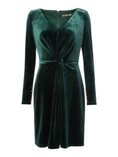 Biba Velvet Long Sleeve Knot Detail Dress