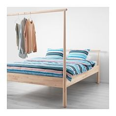 IKEA - GJÖRA, Bed frame, You can decide the style of this bed frame. The untreated surface can be oiled, waxed or stained and the high end is perfect for draping your favorite fabric.It doesn't matter how you place this bed. Use the low end as a headboard and hang clothes on the high end. Or the other way around, and use the low end to lean against when putting your socks on.Made of solid wood, which is a durable and warm natural material.If you oil, wax, lacquer or stain the untreated solid…
