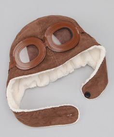 Adorable! Take a look at this Brown Sherpa Earflap Beanie & Mask by POP Couture on #zulily today!