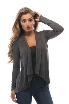 Long Sleeve Cascade Open Cardigan Sweater Large Charcoal    Be sure to  check out this a37179c47