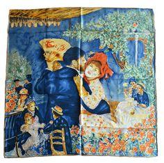 Van Gogh and Claude Monets Paintings, Square Elegant Luxury Fashion 100 Silk Scarf Premium Shawl Wrap Art (Pierre-Auguste Renoir-Dance At Bougival 1883)