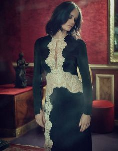 Actress Eva Green wears an Alessandra Rich dress with lace details for The Edit Magazine September 2016 Isabelle Adjani, Emilia Clarke, Au Hasard Balthazar, Vanessa Ives, Actress Eva Green, Billy Kidd, Ex Machina, Green Photo, French Actress