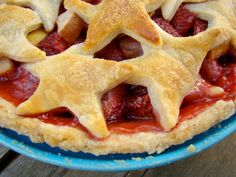 Strawberry apple pie with pastry stars