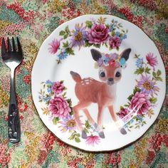 Flower Crown Deer Vintage Illustrated Plate