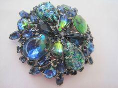 Vintage Weiss Art Glass Rhinestone Blue Brooch by VintagObsessions, $42.00