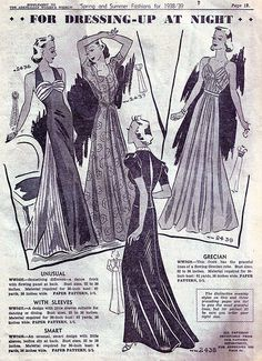 Beautiful gowns for dressing-up at night (1938-39). #vintage #1930s #fashion #illustrations