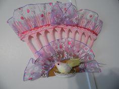 Purple ans Pink Plastic Fork Fan Wall Decor with Bird…