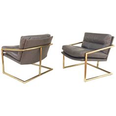 Tubular Brass with Leather Lounge Chairs by Milo Baughman | From a unique collection of antique and modern lounge chairs at https://www.1stdibs.com/furniture/seating/lounge-chairs/
