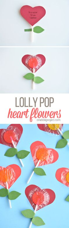 These lolly pop heart flowers are a super FUN and EASY Valentine's Day craft idea! Your special someone will be a sucker for this simple Valentine! Valentines Bricolage, Kinder Valentines, Valentines Day Treats, Valentine Box, Valentine Day Crafts, Holiday Crafts, Valentine Flowers, Valentine Ideas, Printable Valentine