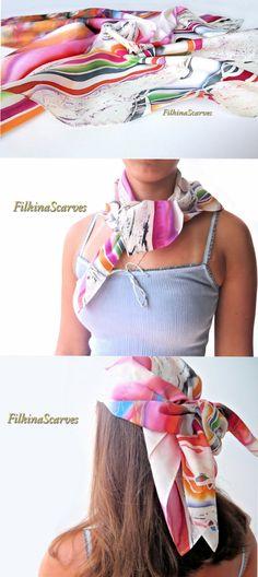 Silk HandPainted Scarf Bandana square scarf Silk painting White Blue Magenta…