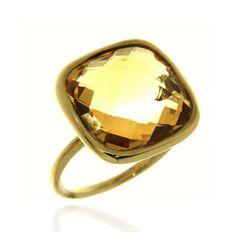 SQUARE Ref: 38538 Sortija realizada en oro amarillo 18 kts. con un cuarzo citrino en talla briolet.