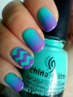 Purple French Tip and Chevron Nails on Mint Base.