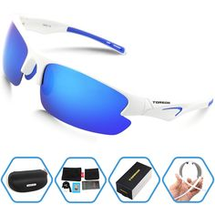 Torege Polarized Sports Sunglasses For Men Women Cycling Running Fishing Driving Baseball Golf TR90 Unbreakable Frame TR005 (White&Blue). REVO POLARIZED LENS- 100% UV400 protection coating, blocks 100% harmful UVA & UVB Rays. Restore true color, eliminate reflected light and scattered light,make the scenery more clear and soft and protect eyes perfectly. TAC lens includes 7 layers. The 1st layer is polarization layer. The 2nd and 3rd layers are bonding layers to enable durability. The 4th...