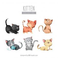Colección adorable de gatitos en acuarela
