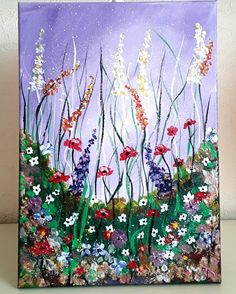 Flower Invasion Of Mixed Flowers On Canvas Red Poppies White Daisy Folksy Art UK Acrylic Flowers, Flower Canvas, Art Uk, Red Poppies, Handmade Crafts, Rainbow Colors, All The Colors, Daisy, Original Paintings