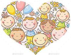 Buy Kids Faces in Heart Shape by katya_dav on GraphicRiver. Happy kids faces in a heart shape School Cartoon, Happy Cartoon, Cartoon Kids, Drawing School, Drawing For Kids, Free Printable Art, Apple Theme, Happy Kids, Vector Pattern
