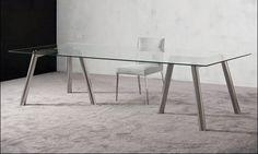 Comedores de diseno - Mesa de Comedor Jazz, JNL Mobilier - Mesa de comedor o despacho con tapa de cristal y estructura y pies en acero inox terminacion en brillo, de medidas 280 o 260 x 110 x 72h
