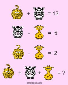 Brain teaser - Number And Math Puzzle - Three animals - Math puzzle with three animals. Leopard, zebra and giraffe mean a number. Can you find these numbers? Math Quizzes, Math Resources, Math Games, Math Activities, Riddles Logic, Logic Puzzles, Picture Logic, Reto Mental, First Class