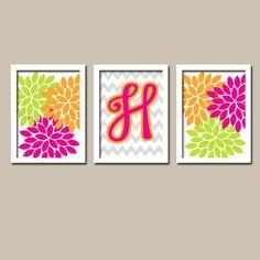 Colorful Hot Pink Green Orange Monogram Flower Burst Letter Initial Set of 3 Trio Prints Chevron WALL Baby Decor ART Bedroom Picture NURSERY