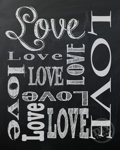 Cute chalkboard valentine's day printable - Love