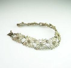 Vintage Silver Filigree Floral Motif Bracelet by zephyrvintage, $39.00