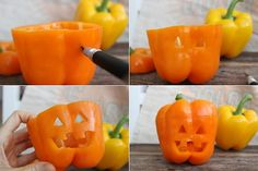 Halloween Dinner: Jack-O-Lantern Stuffed Bell Peppers. Surprise you loved ones with this spooky yet delicious Halloween dinner recipe.