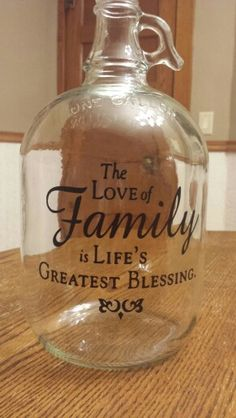 Vintage one gallon glass jug with custom vinyl created by Grace Designs… Wine Jug Crafts, Crafts With Glass Jars, Glass Bottle Crafts, Diy Bottle, Bottle Art, Beer Bottle, Vodka Bottle, Jar Crafts, Whiskey Bottle