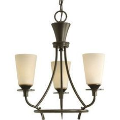 Progress Lighting Cantata 17-In 3-Light Forged Bronze Tinted Glass Sha