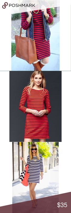 GAP Red and Navy Striped Bow Dress Stripes are not just for summer!  Ponte sheath dress, three quarter sleeves with side Front slant pockets. GAP Dresses
