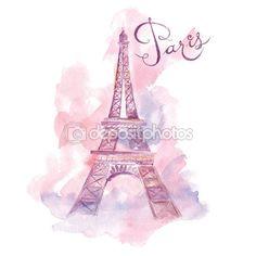 Torre Eiffel de acuarela — Ilustración de stock #67157811