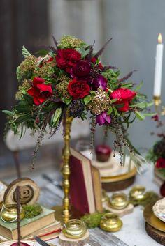 Red  Vintage Wedding Centrepiece