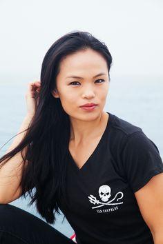 Women's Jolly Roger V-Neck Tee - 100% Organic Cotton | Sea Shepherd