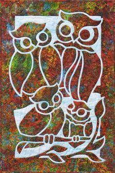 Owl Family 2FAQ applique quilt pattern