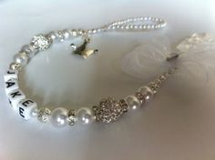 Bling *Princess* Shamballa & Crystal Romany Dummy Clip Personalised Pink White | eBay
