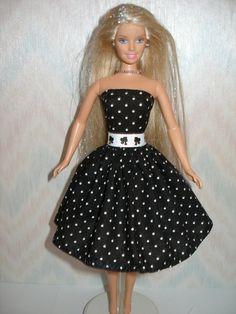 Handmade Barbie clothes - black and white polka dot dress