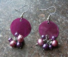Fuchsia Shell Cluster Earrings. $6.00, via Etsy.