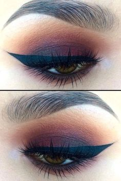 Little Burgundy eye makeup look, with makeup products list, winged eyeliner tutorial, smokey eye makeup, eyeshadow and lipstick colours, eye makeup tutorial, party makeup