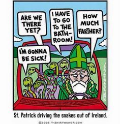 Saint Patrick drives the snakes out of Ireland.