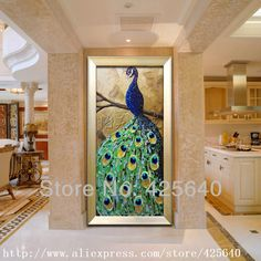 Aliexpress.com : Buy Peacock Oil painting On Canvas Wall Pictures Painting For Living Room Wall Art peacock decorations for home green  3 from Reliable painting wooden picture frames suppliers on Eazilife Oil Painting  | Alibaba Group
