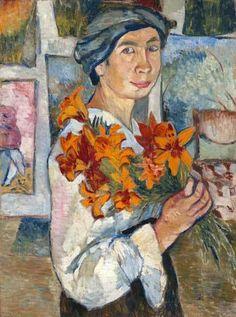 "Natalia Goncharova, ""Self-portrait with yellow lilies"" on ArtStack #natalia-goncharova-natal-ia-sierghieievna-goncharova #art"
