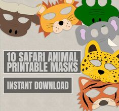 Safari Animal Mask Printables, 10 PDF Printables This listing includes 10 easy to cut out animal masks. Each Animal mask is around and can be printed on Standard Letter Pages (also on Just purchase the digital file to print and cut out at home. Tiger Mask, Lion Mask, Animal Masks For Kids, Mask For Kids, Safari Party, Safari Theme, Printable Masks, Printables, Safari Costume