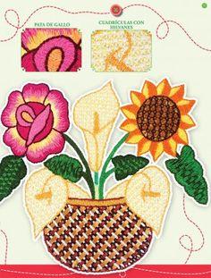 flores bordadas en puntada fantasia - Buscar con Google
