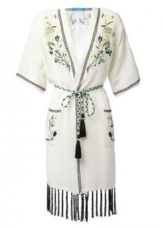 White Silk Embroidered Kimono Robe - New This Week - Matthew Williamson