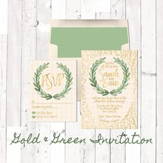 Gold wedding stationery, wedding ideas, boho. Gold and Green Bohemian Wreath and Leaves Wedding Invitation with natural color paper look background and natural color envelopes with matching green liners. Romantics fancy font choices.