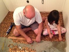 This Man Made An Entire Floor In His House Out Of Pennies. The End Result Is Beyond Incredible. [STORY]