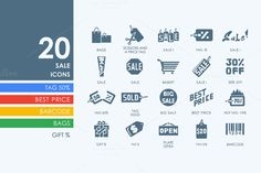20 sale icons by Palau on Creative Market